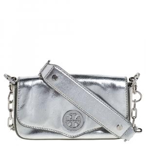 Tory Burch Metallic Silver Leather Chain Shoulder Bag