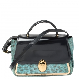 Tory Burch Navy Blue/Turquoise Leather Top Handle Bag