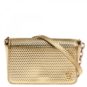 Tory Burch Metallic Gold Leather Flap Crossbody Bag