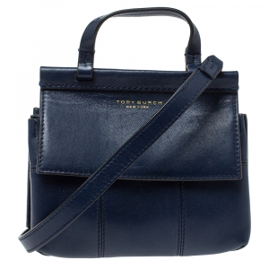حقيبة توري برش ميني بلوك تي يد علوية جلد أزرق كحلي