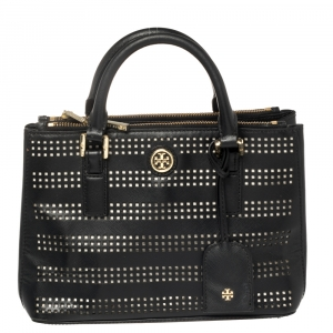 Tory Burch Black Perforated Leather Small Robinson Double Zip Tote