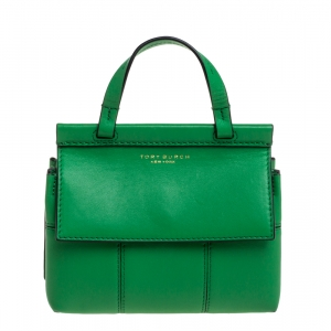 Tory Burch Green Leather Mini Block T Crossbody Bag