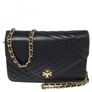 Tory Burch Black Leather Kira Envelope Flap Chain Bag