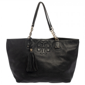 Tory Burch Black Leather Large Thea Tote