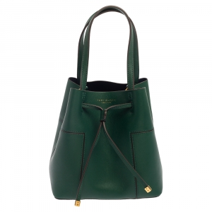 Tory Burch Green Leather Small Block T Bucket Bag