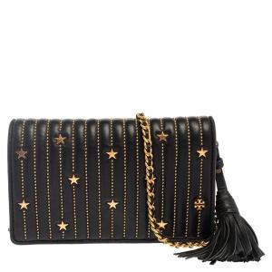 محفظة توري برش فليمينغ ستار جلد أسود مرصعة