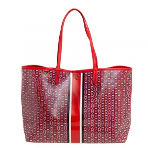 Tory Burch Red Gemini Link Coated Canvas and Leather Tote