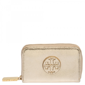 Tory Burch Gold Leather Zip Around Coin Purse