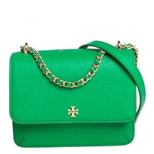 Tory Burch Green Saffiano Leather Mini Robinson Crossbody Bag