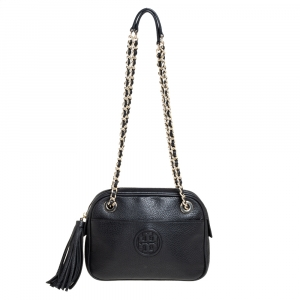 Tory Burch Black Leather Thea Shoulder Bag