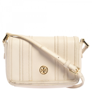 Tory Burch Off White Leather Flap Crossbody Bag