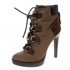 Tory Burch Khaki Nylon and Leather Lace Up Heel Boots Size 38