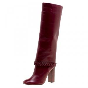 Tory Burch Burgundy Leather Sarava Braid Detail Knee Boots Size 39
