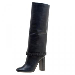 Tory Burch Dark Blue Leather Sarava Braid Detail Knee Boots Size 40