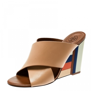 Tory Burch Beige Leather Colorblock Wedge Slide Sandals Size 37