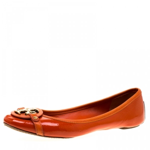 Tory Burch Orange Patent Leather Bow Ballet Flats Size 40 - used