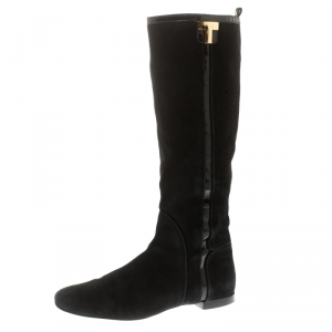 Tory Burch Black Suede And Patent Leather Trim Knee Length Boots Size 38