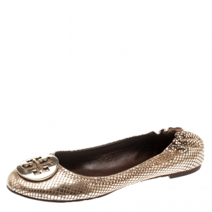 Tory Burch Metallic Gold Foil Textured Suede Reva Ballet Flats Size 37.5 - used