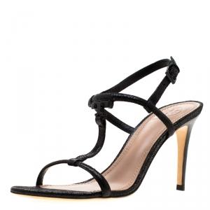 Tory Burch Black Saffiano Leather Logo T Strap Sandals Size 37