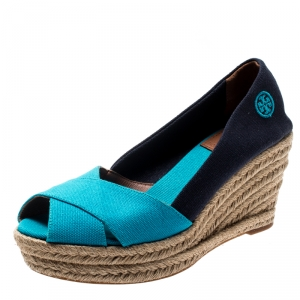 Tory Burch Two Tone Canvas Filipa Wedges Espadrille Sandals Size 37.5