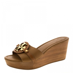 Tory Burch Brown Leather Patti Wedge Platform Sandals Size 37.5