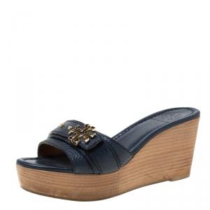 Tory Burch Blue Leather Patti Wedge Platform Sandals Size 37