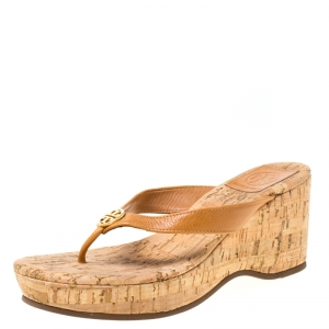 Tory Burch Brown Leather Suzy Thong Wedge Sandals Size 36.5