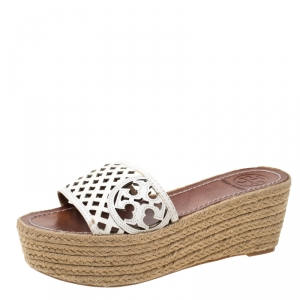 Tory Burch White Leather Thatched Platform Wedge Sandals Size 36.5