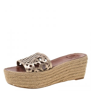 Tory Burch Bronze Leather Thatched Platform Wedge Sandals Size 36.5 - used