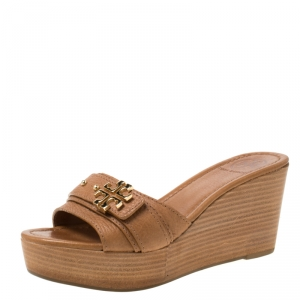 Tory Burch Brown Leather Elina Wedge Platform Sandals Size 37