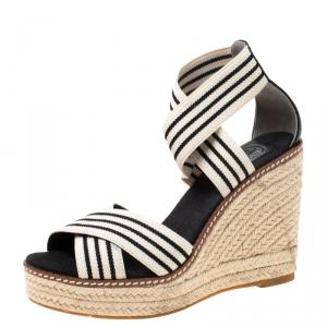 Tory Burch Monochrome Stretch Fabric And Leather Frieda Cross Strap Espadrille Platform Sandals Size 36