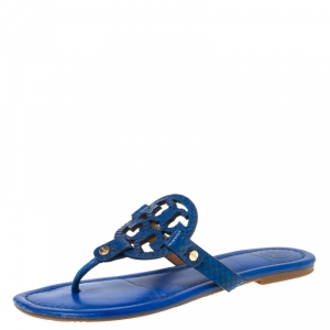 Tory Burch Blue Leather and Snakeskin Embossed Miller Flat Thong Sandals Size 37.5 - used