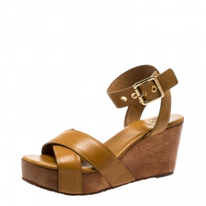 Tory Burch Brown Leather Almita Wedge Sandals Size 36.5