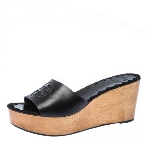 Tory Burch Black Leather Patty Platform Wedge Sandals Size 39
