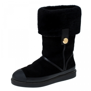 Tory Burch Black Suede Leather And Fur Ankle Boots Size 38
