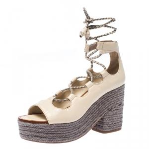 Tory Burch Beige/Grey Leather Positano Espadrille Platform Sandals Size 37.5