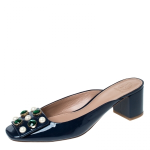 Tory Burch Blue Patent Leather Vail Embellished Block Heel Mules Size 39.5