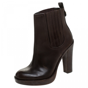 Tory Burch Dark Brown Leather Elastic Band Ankle Boots Size 37