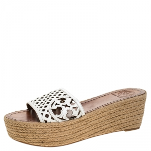 Tory Burch White Cutout Leather Espadrille Wedge Platform Sandals Size 39 - used