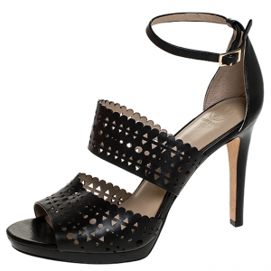 Tory Burch Black Laser Cut Scalloped Trim Leather Platform Ankle Strap Sandals Size 40 - used