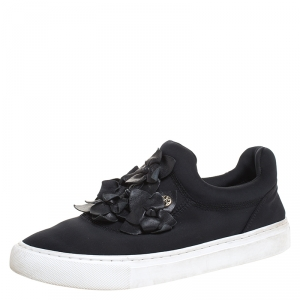 Tory Burch Black Neoprene And Leather Blossom Floral Applique Slip On Sneakers Size 37.5 - used