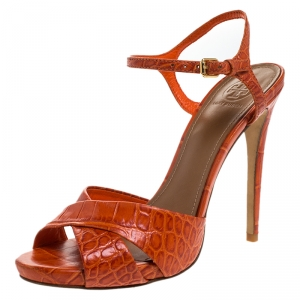 Tory Burch 2 Tone Croc Embossed Leather Cross Strap Peep Toe Sandals Size 38.5