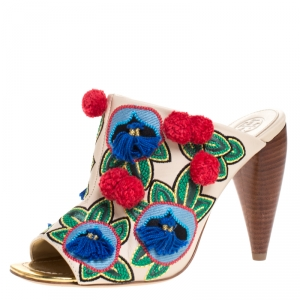Tory Burch Multicolor Embroidered Leather Ellis Peep Toe Mules Size 38.5