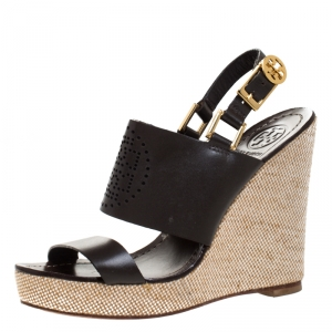 Tory Burch Dark Brown Leather Kimberly Platform Wedges Sandals Size 37 - used