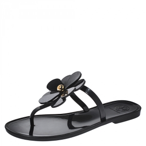 Tory Burch Black Jelly Flower Thong Flats Size 36 - used