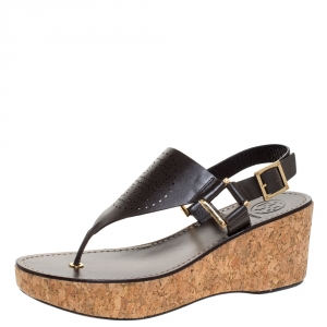 Tory Burch Brown Leather Cork Wedge Platform Thong Sandals Size 38 - used
