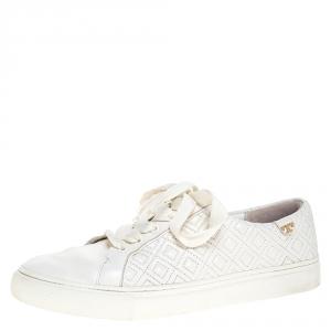 حذاء رياضي توري برش أربطة جلد مبطن Marion  أبيض مقاس 40