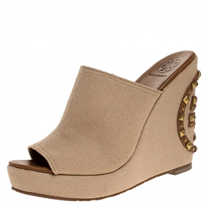 Tory Burch Beige Canvas Studded Wedge Open Toe Sandals Size 38.5