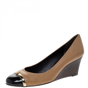Tory Burch Brown Leather Cap Toe Wedge Pumps Size 36.5