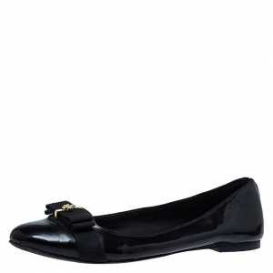 Tory Burch Black Leather Bow Ballet Flats Size 38.5
